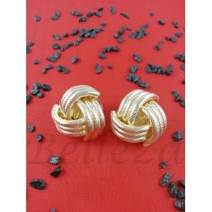 Дамски обеци с винт, златна баня от медицинска стомана E - 21603
