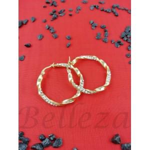 Дамски обеци тип - халки със златна баня от медицинска стомана и цирконий E - 21546