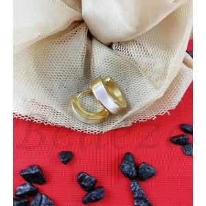 Дамски обеци тип - халки със златна баня от медицинска стомана и седеф E - 21615
