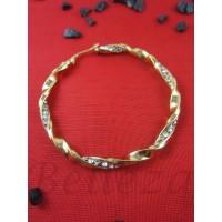 Обеци от медицинска стомана в златен цвят и цирконий E - 21544