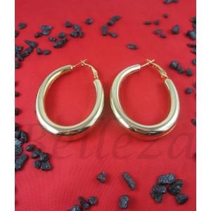 Дамски елипсовидни обеци тип - халки със златна баня от медицинска стомана E - 21560
