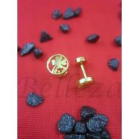 Обеци с винт и златна баня от медицинска стомана E - 21449
