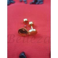 Обеци с винт и златна баня от медицинска стомана E - 21438