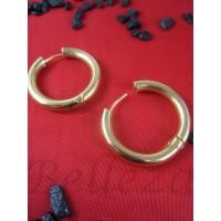 Дамски обеци тип-халки със златна баня от медицинска стомана Е - 21531
