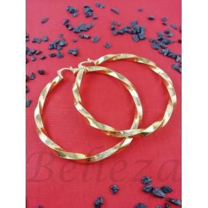 Дамски обеци тип - халки със златна баня от медицинска стомана E - 21596