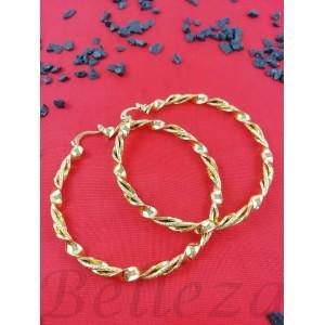 Дамски обеци тип - халки със златна баня от медицинска стомана E - 21597
