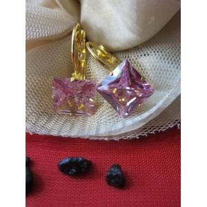 Обеци от медицинска стомана в златен цвят и розов кристал E - 21131