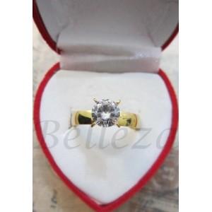 Дамски пръстен със златна баня от медицинска стомана и цирконий R - 173