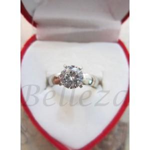 Дамски пръстен със сребърна баня от медицинска стомана и цирконий R - 22