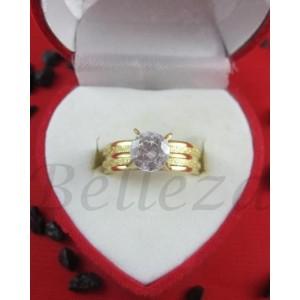 Дамски пръстен със златна баня от медицинска стомана и цирконий R - 520