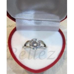 Дамски пръстен със сребърна баня от медицинска стомана ицирконий R - 214
