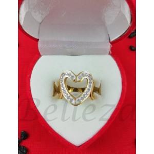 Дамски пръстен със златна баня от медицинска стомана и шамбала мотив R - 570