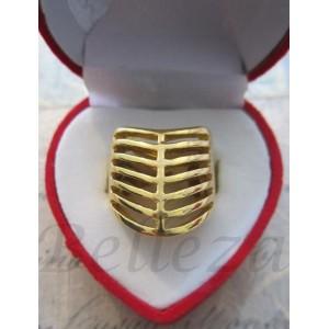Дамски пръстен със златна баня от медицинска стомана R - 227