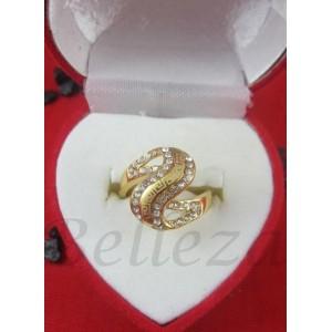 Дамски пръстен със златна баня от медицинска стомана и цирконий R - 444