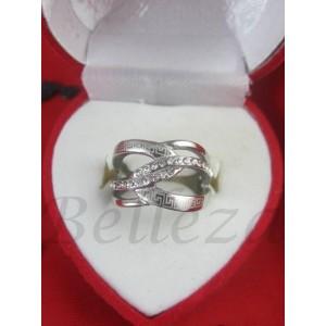 Дамски пръстен със сребърна баня от медицинска стомана и цирконий R - 451