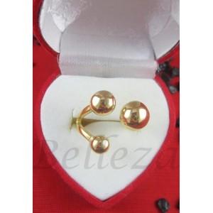 Дамски пръстен със златна баня от медицинска стомана R - 516