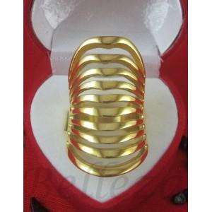 Дамски пръстен със златна баня от медицинска стомана R - 455