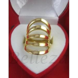 Дамски пръстен със златна баня от медицинска стомана R - 448