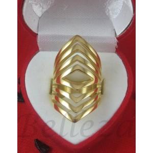 Дамски пръстен със златна баня от медицинска стомана R - 446