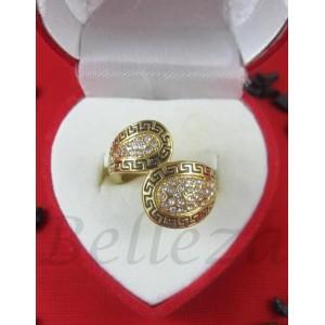Дамски пръстен със златна баня от медицинска стомана и цирконий R - 267