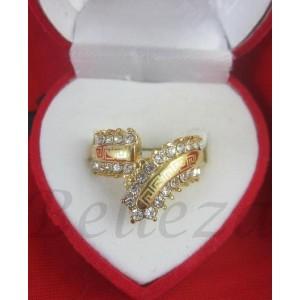 Дамски пръстен със златна баня от медицинска стомана и цирконий R - 458