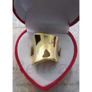 Дамски пръстен със златна баня от медицинска стомана R - 228