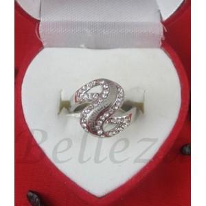 Дамски пръстен със сребърна баня от медицинска стомана и цирконий R - 443
