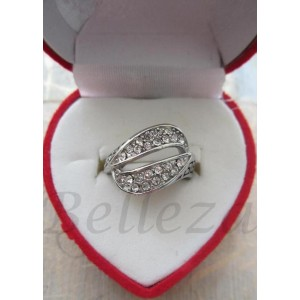 Дамски пръстен със сребърна баня от медицинска стомана и цирконий R - 322