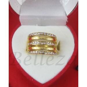 Дамски пръстен със златна баня от медицинска стомана и цирконий R - 450