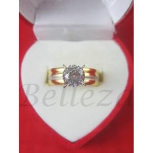 Дамски пръстен със златна и сребърна баня от медицинска стомана и цирконий R - 472