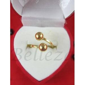 Дамски пръстен със златна баня от медицинска стомана R - 537