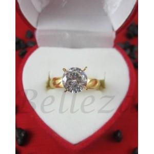 Дамски пръстен със златна баня от медицинска стомана и цирконий R - 551