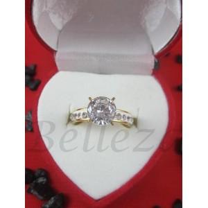 Дамски пръстен със златна баня от медицинска стомана и шамбала мотив R - 565