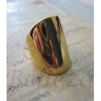 Дамски пръстен със златна баня от медицинска стомана R - 229
