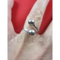 Дамски пръстен със сребърна баня от медицинска стомана R - 538