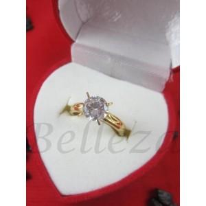 Дамски пръстен със златна баня от медицинска стомана и цирконий R - 562