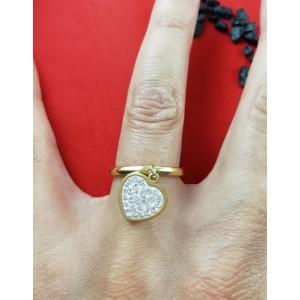 Дамски пръстен със златна баня от медицинска стомана и шамбала мотив R - 579