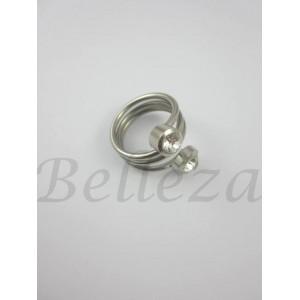 Дамски пръстен със сребърна баня от медицинска стомана и цирконий R - 477