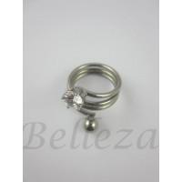 Дамски пръстен със сребърна баня от медицинска стомана и цирконий R - 481
