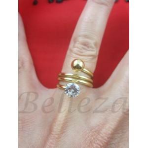Дамски пръстен със златна баня от медицинска стомана и цирконий R - 480