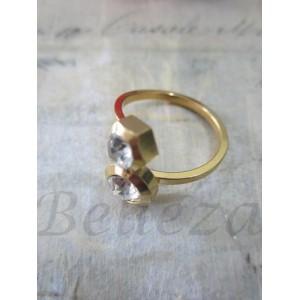 Дамски пръстен със златна баня от медицинска стомана и цирконий R - 260
