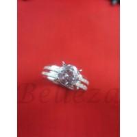 Дамски пръстен със сребърна баня от медицинска стомана и цирконий R - 519
