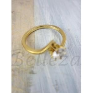 Дамски пръстен със златна баня от медицинска стомана и цирконий R - 403