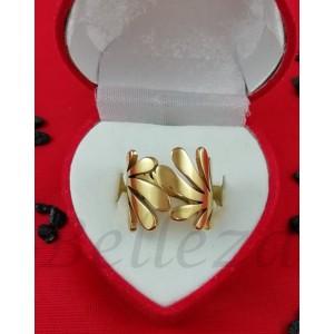 Дамски пръстен със златна баня от медицинска стомана R - 582