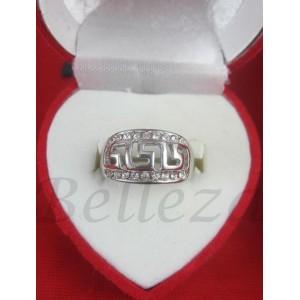Дамски пръстен със сребърна баня от медицинска стомана и цирконий R - 453