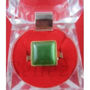 Пръстен със златна баня от медицинска стомана и зелен камък R - 428