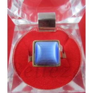 Пръстен със златна баня от медицинска стомана и син камък R - 429