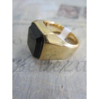 Пръстен със златна баня от медицинска стомана и черен камък R - 498