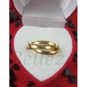 Пръстен с преплетени халки и златна баня от медицинска стомана R - 292