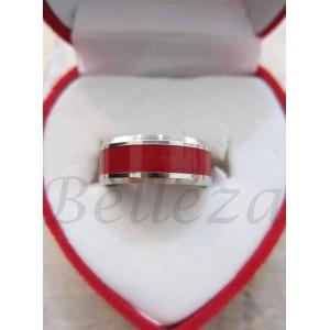 Пръстен в червен цвят със сребърна баня от медицинска стомана R - 41